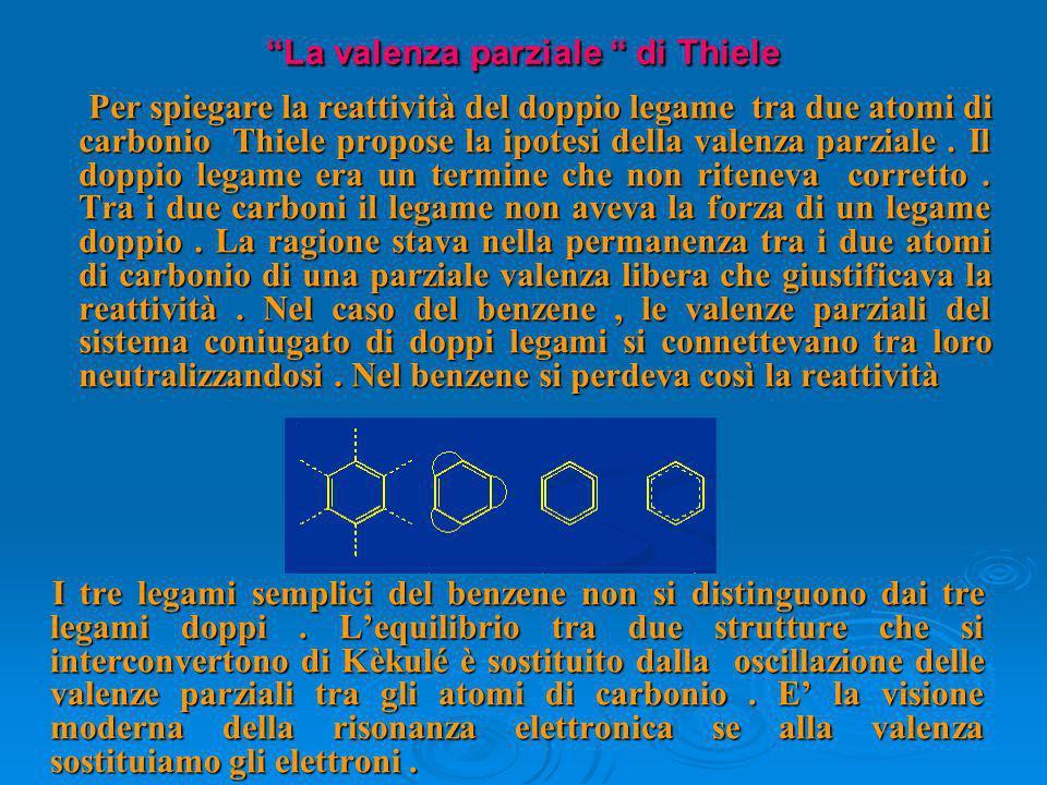 La valenza parziale di Thiele Per spiegare la reattività del doppio legame tra due atomi di carbonio Thiele propose la ipotesi della valenza parziale.