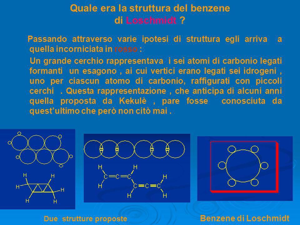 Quale era la struttura del benzene di Loschmidt ? Passando attraverso varie ipotesi di struttura egli arriva a quella incorniciata in rosso : Un grand