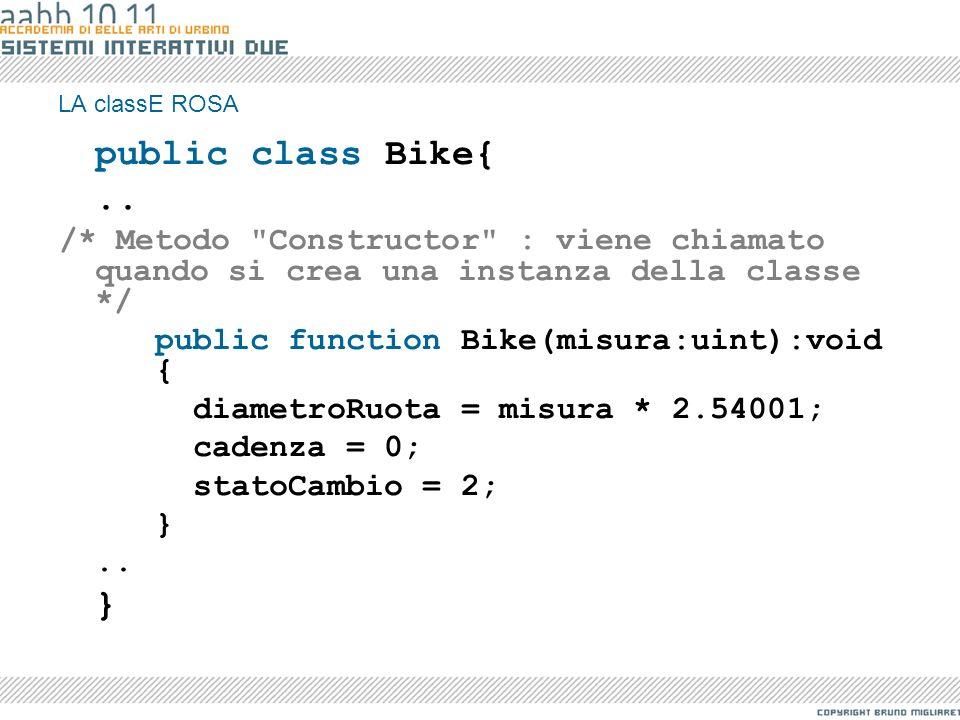LA classE ROSA public class Bike{.. /* Metodo