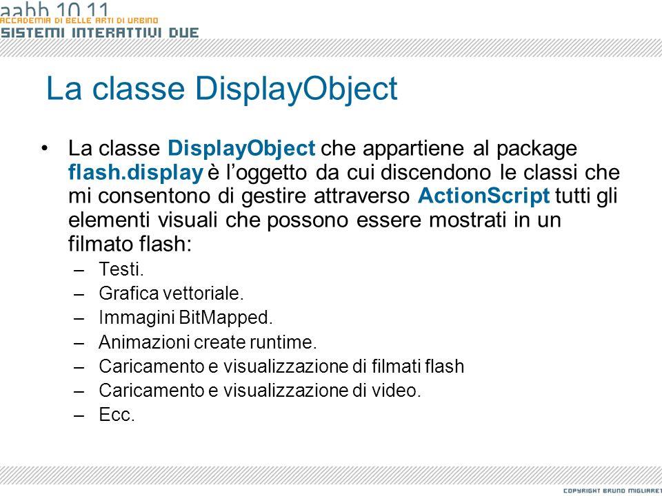 La classe DisplayObject La classe DisplayObject che appartiene al package flash.display è loggetto da cui discendono le classi che mi consentono di ge