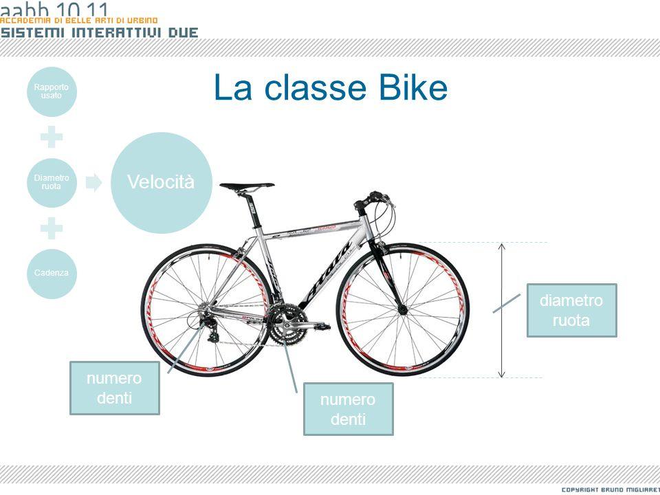 La classe Bike diametro ruota numero denti Rapporto usato Diametro ruota Cadenza Velocità