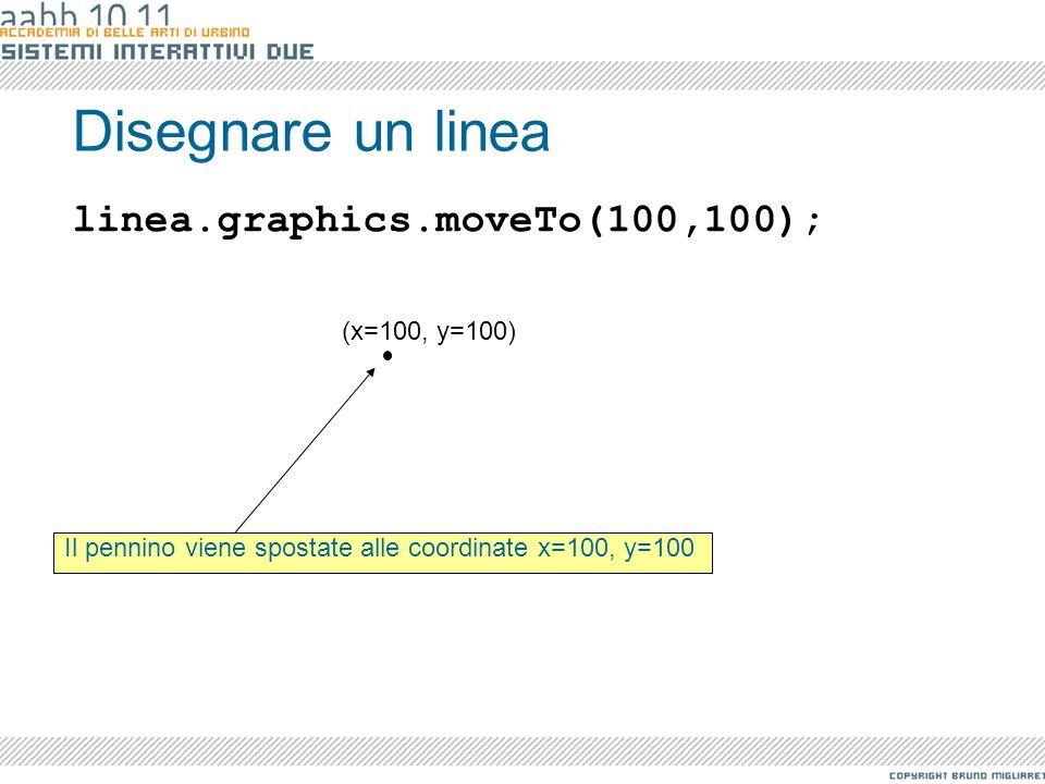 Disegnare un linea Il pennino viene spostate alle coordinate x=100, y=100 linea.graphics.moveTo(100,100); (x=100, y=100)