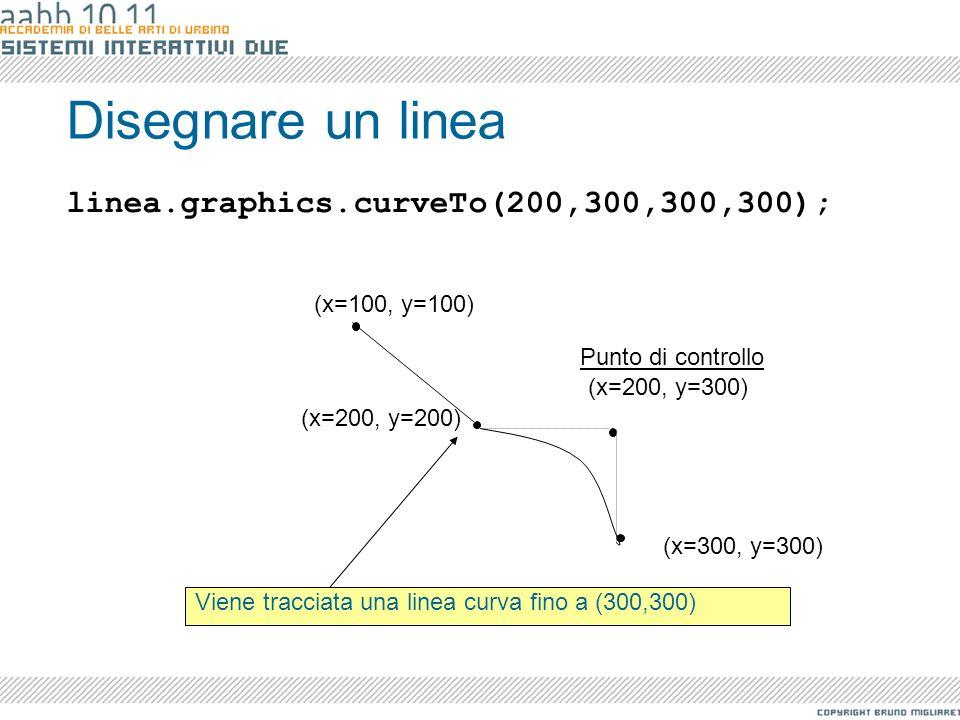 Disegnare un linea Viene tracciata una linea curva fino a (300,300) linea.graphics.curveTo(200,300,300,300); (x=100, y=100) (x=200, y=200) (x=300, y=3