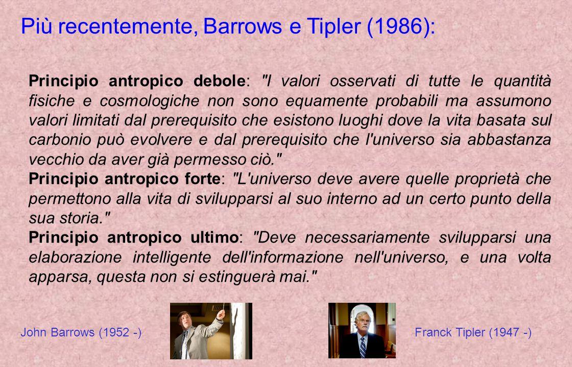 Più recentemente, Barrows e Tipler (1986): Principio antropico debole: