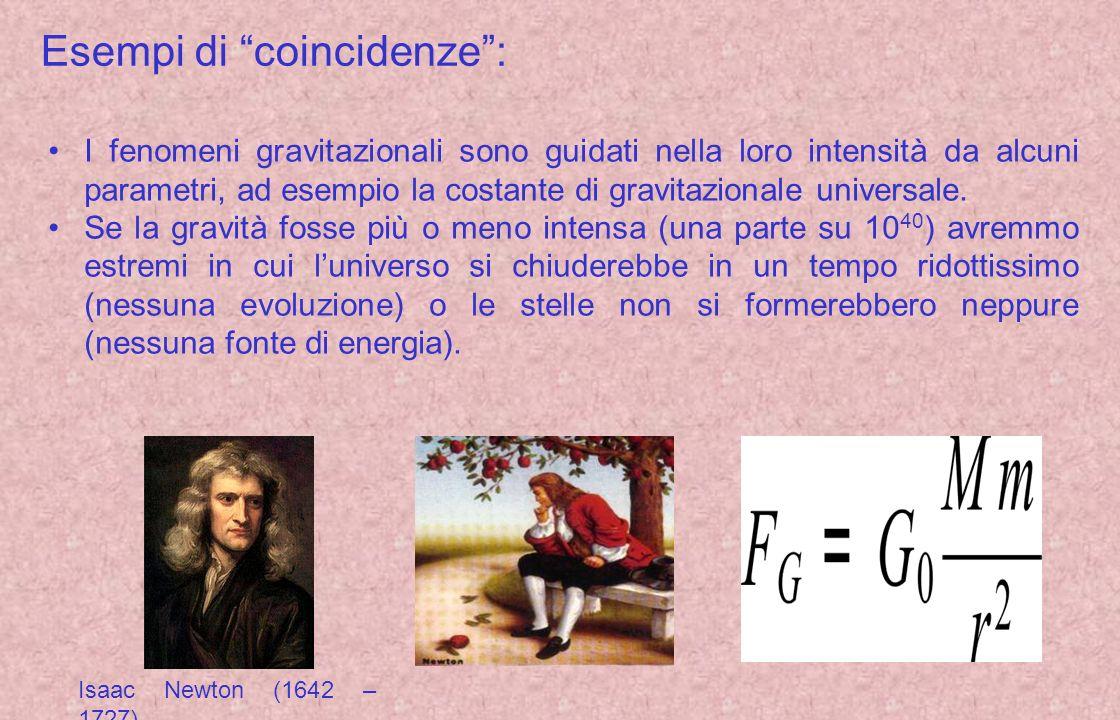 Esempi di coincidenze: I fenomeni gravitazionali sono guidati nella loro intensità da alcuni parametri, ad esempio la costante di gravitazionale unive