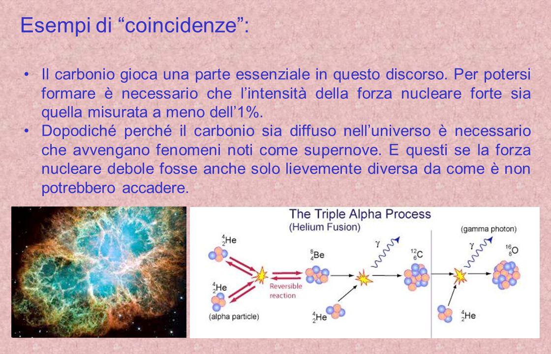 Esempi di coincidenze: Il carbonio gioca una parte essenziale in questo discorso. Per potersi formare è necessario che lintensità della forza nucleare