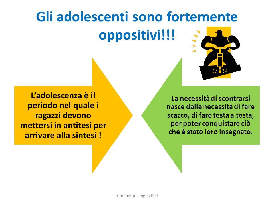 Gli adolescenti sono fortemente oppositivi!!! Ladolescenza è il periodo nel quale i ragazzi devono mettersi in antitesi per arrivare alla sintesi ! La