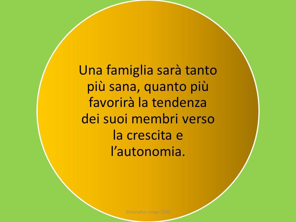 Una famiglia sarà tanto più sana, quanto più favorirà la tendenza dei suoi membri verso la crescita e lautonomia. Simonetta Longo 2009