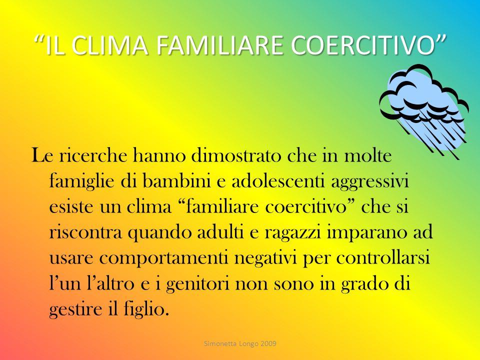 IL CLIMA FAMILIARE COERCITIVO Le ricerche hanno dimostrato che in molte famiglie di bambini e adolescenti aggressivi esiste un clima familiare coercit