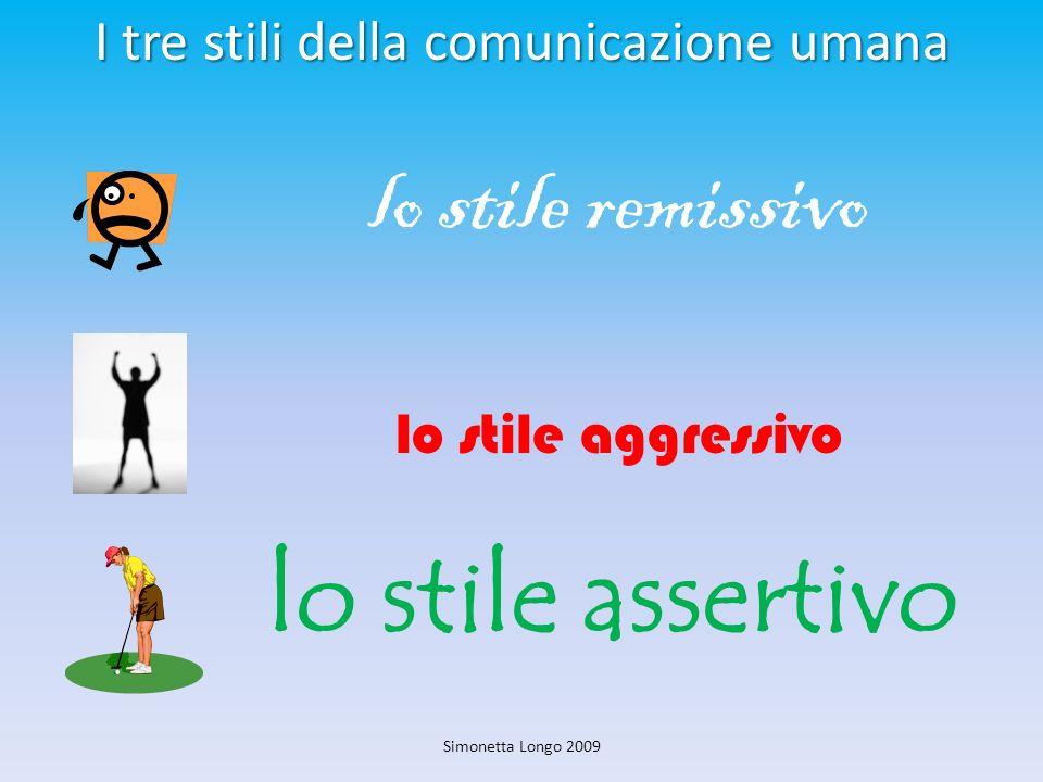 I tre stili della comunicazione umana I tre stili della comunicazione umana lo stile remissivo lo stile aggressivo lo stile assertivo Simonetta Longo