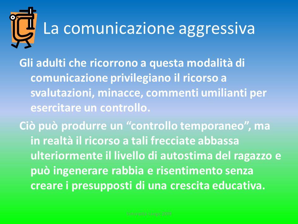 La comunicazione aggressiva Gli adulti che ricorrono a questa modalità di comunicazione privilegiano il ricorso a svalutazioni, minacce, commenti umil