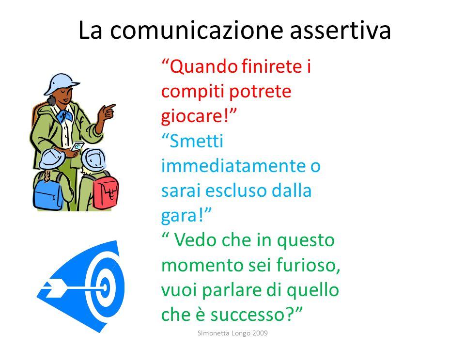 La comunicazione assertiva Simonetta Longo 2009 Quando finirete i compiti potrete giocare! Smetti immediatamente o sarai escluso dalla gara! Vedo che