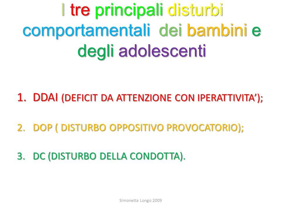 I tre principali disturbi comportamentali dei bambini e degli adolescenti 1.DDAI (DEFICIT DA ATTENZIONE CON IPERATTIVITA); 2.DOP ( DISTURBO OPPOSITIVO