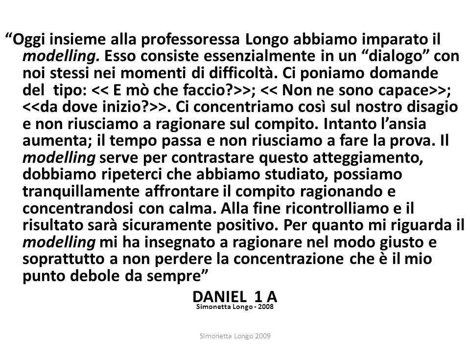 Simonetta Longo 2009 Oggi insieme alla professoressa Longo abbiamo imparato il modelling. Esso consiste essenzialmente in un dialogo con noi stessi ne
