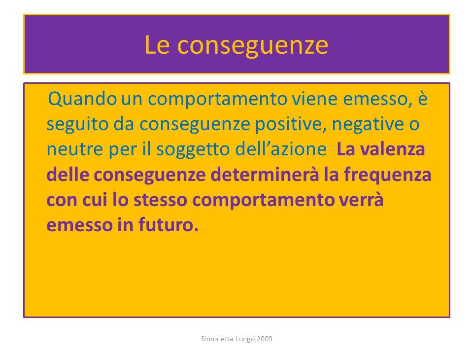 Le conseguenze Quando un comportamento viene emesso, è seguito da conseguenze positive, negative o neutre per il soggetto dellazione. La valenza delle