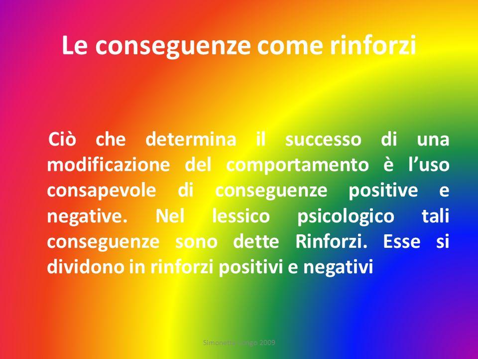 Le conseguenze come rinforzi Ciò che determina il successo di una modificazione del comportamento è luso consapevole di conseguenze positive e negativ