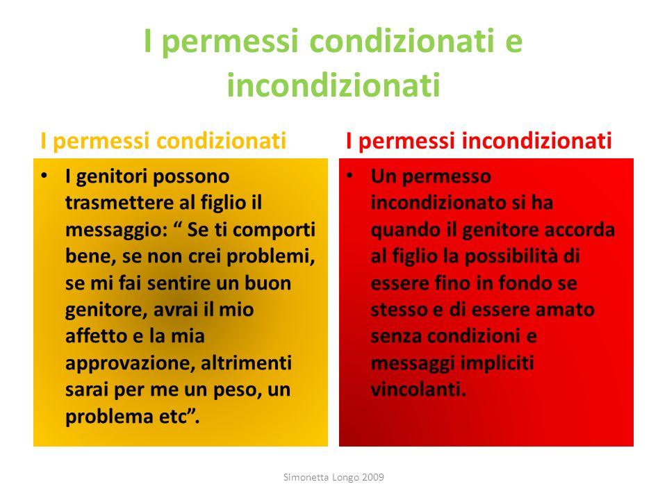 I permessi condizionati e incondizionati I permessi condizionati I genitori possono trasmettere al figlio il messaggio: Se ti comporti bene, se non cr