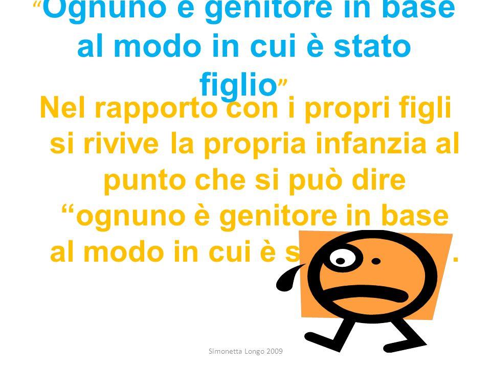 Ognuno è genitore in base al modo in cui è stato figlio Simonetta Longo 2009 Nel rapporto con i propri figli si rivive la propria infanzia al punto ch