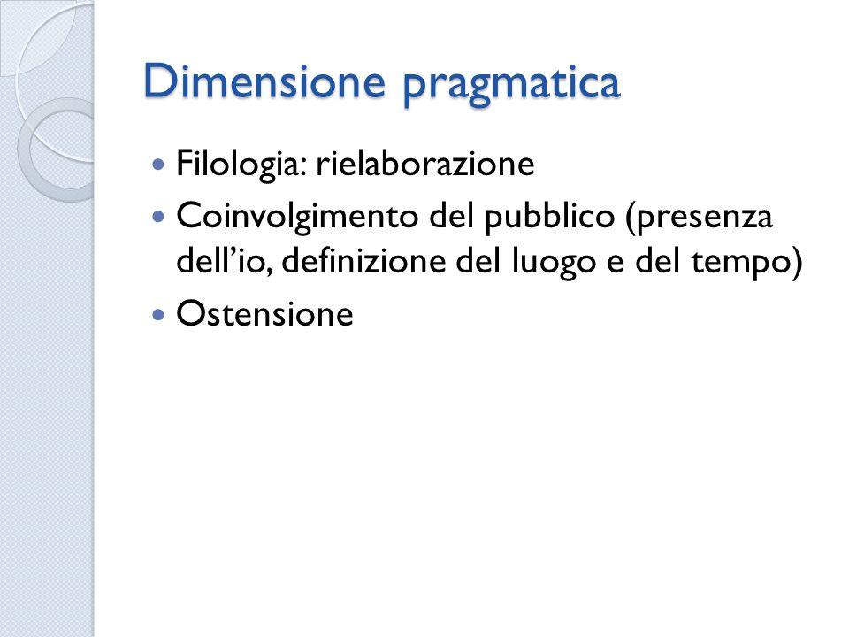 Dimensione pragmatica Filologia: rielaborazione Coinvolgimento del pubblico (presenza dellio, definizione del luogo e del tempo) Ostensione