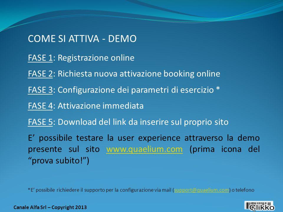 FASE 1: Registrazione online FASE 2: Richiesta nuova attivazione booking online FASE 3: Configurazione dei parametri di esercizio * FASE 4: Attivazion