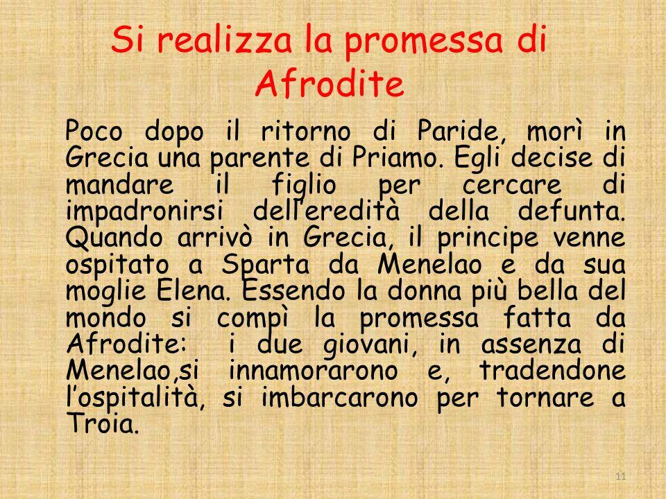 Si realizza la promessa di Afrodite Poco dopo il ritorno di Paride, morì in Grecia una parente di Priamo.