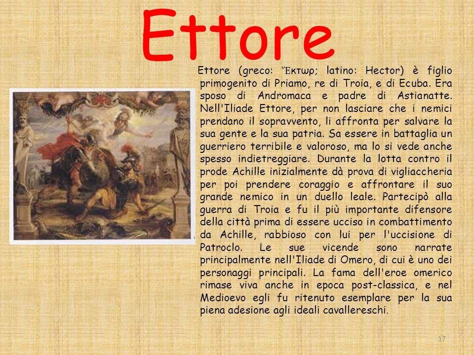 Ettore Ettore (greco: κτωρ; latino: Hector) è figlio primogenito di Priamo, re di Troia, e di Ecuba.