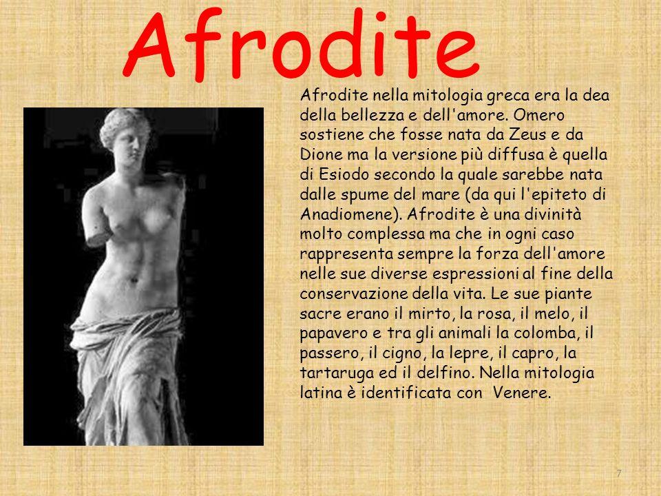 Afrodite Afrodite nella mitologia greca era la dea della bellezza e dell amore.