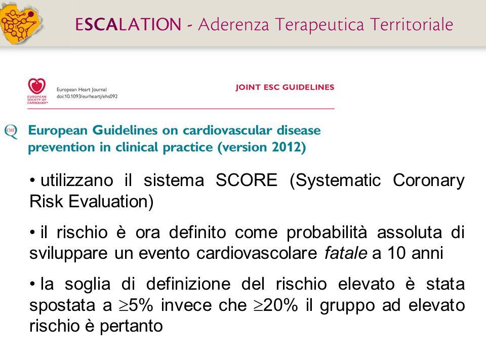 utilizzano il sistema SCORE (Systematic Coronary Risk Evaluation) il rischio è ora definito come probabilità assoluta di sviluppare un evento cardiova