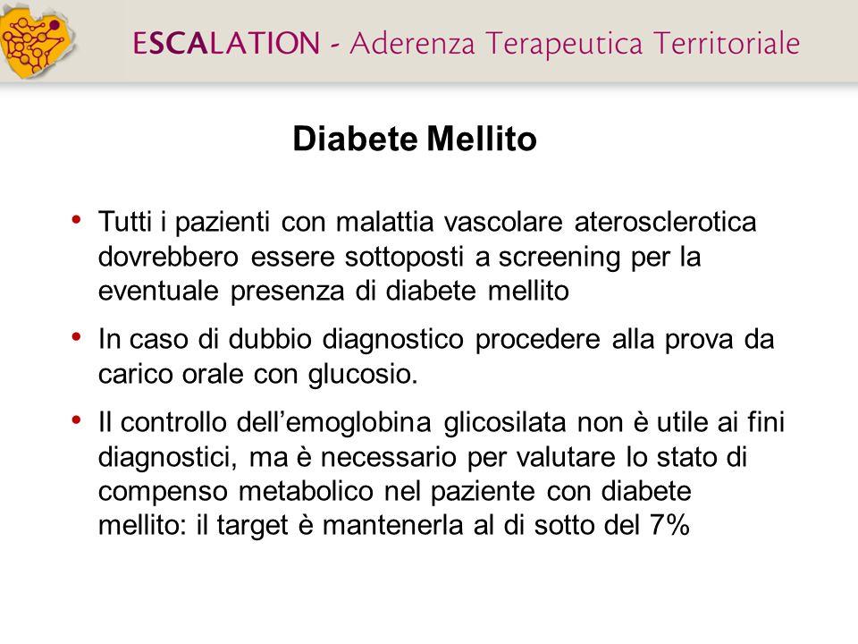 Diabete Mellito Tutti i pazienti con malattia vascolare aterosclerotica dovrebbero essere sottoposti a screening per la eventuale presenza di diabete