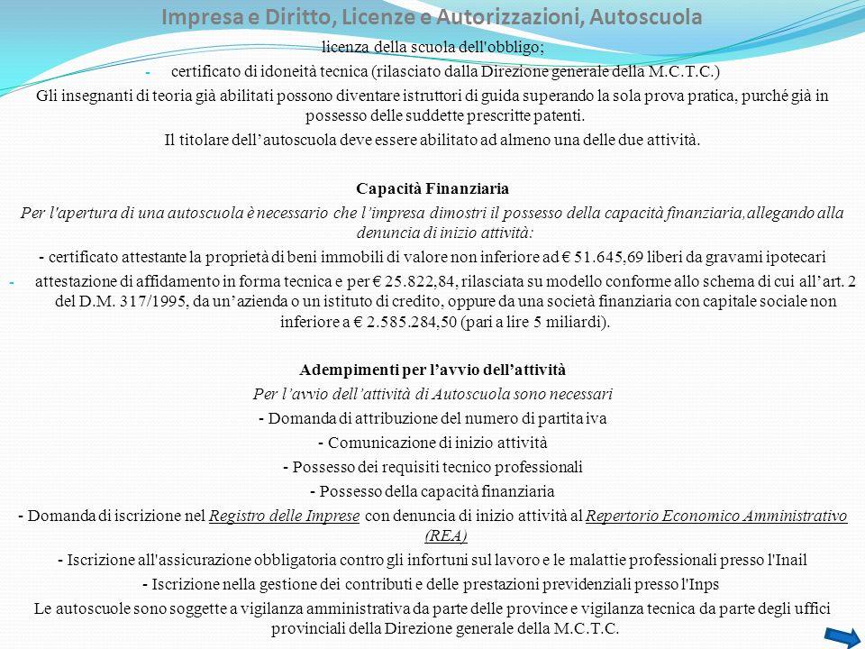Impresa e Diritto, Licenze e Autorizzazioni, Autoscuola licenza della scuola dell'obbligo; - certificato di idoneità tecnica (rilasciato dalla Direzio