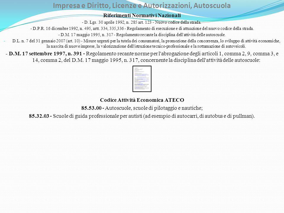 Impresa e Diritto, Licenze e Autorizzazioni, Autoscuola Riferimenti Normativi Nazionali - D. Lgs. 30 aprile 1992, n. 285 art. 123 - Nuovo codice della