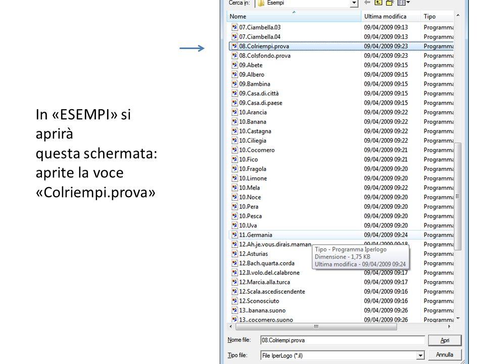 In «ESEMPI» si aprirà questa schermata: aprite la voce «Colriempi.prova»