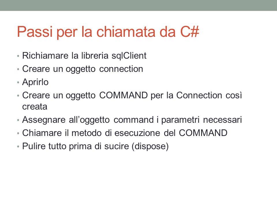 Passi per la chiamata da C# Richiamare la libreria sqlClient Creare un oggetto connection Aprirlo Creare un oggetto COMMAND per la Connection così creata Assegnare alloggetto command i parametri necessari Chiamare il metodo di esecuzione del COMMAND Pulire tutto prima di sucire (dispose)