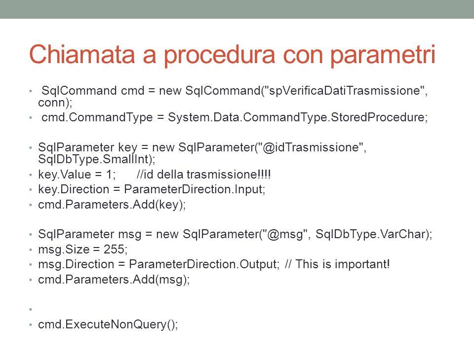 Chiamata a procedura con parametri SqlCommand cmd = new SqlCommand(
