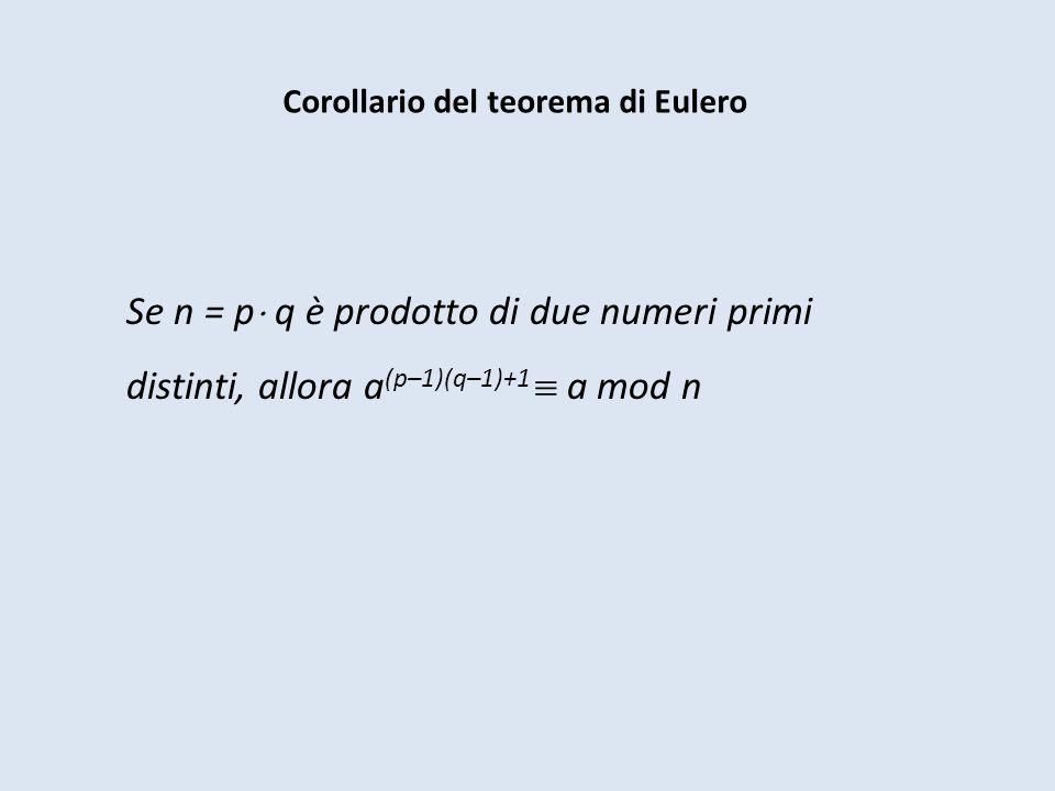 Corollario del teorema di Eulero Se n = p q è prodotto di due numeri primi distinti, allora a (p–1)(q–1)+1 a mod n