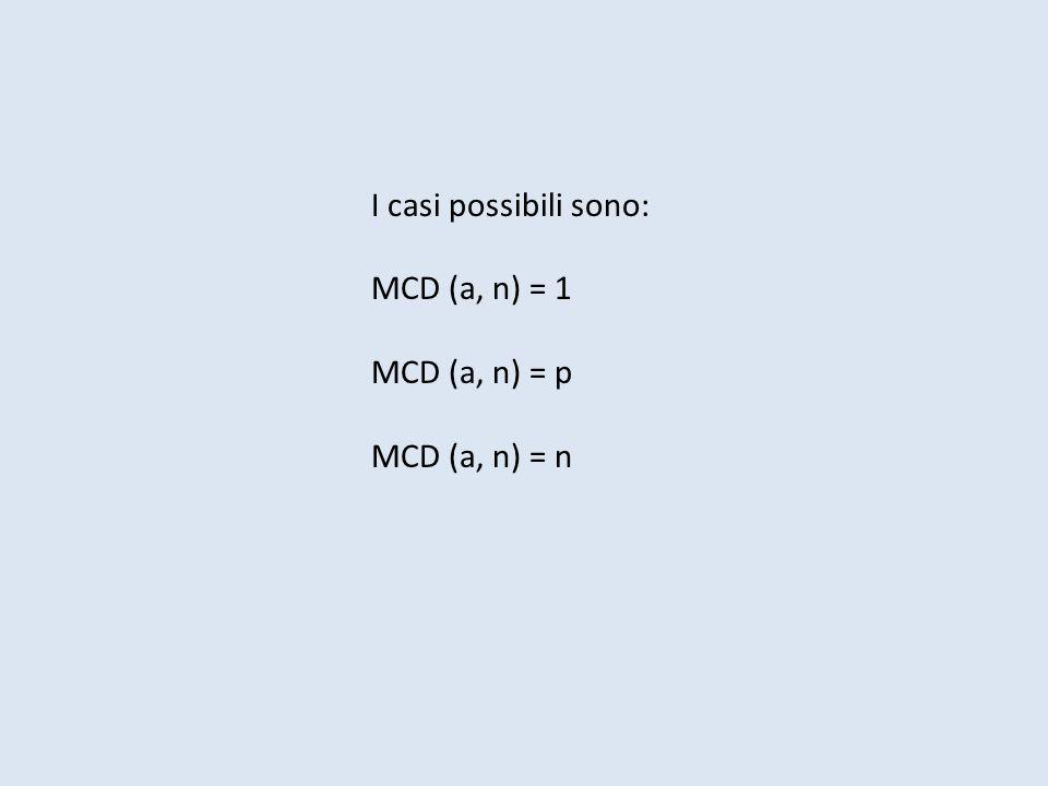 I casi possibili sono: MCD (a, n) = 1 MCD (a, n) = p MCD (a, n) = n