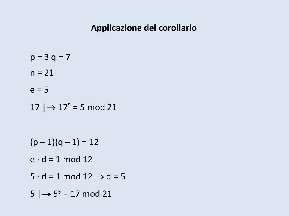 Applicazione del corollario p = 3 q = 7 n = 21 e = 5 17 | 17 5 = 5 mod 21 (p – 1)(q – 1) = 12 e d = 1 mod 12 5 d = 1 mod 12 d = 5 5 | 5 5 = 17 mod 21