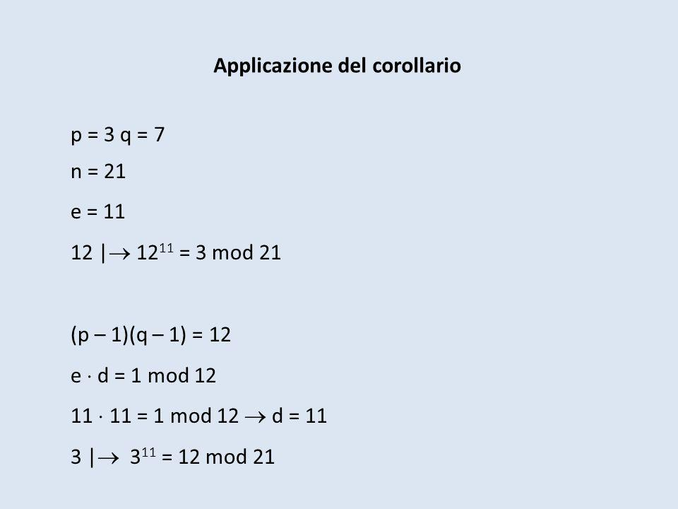 Applicazione del corollario p = 3 q = 7 n = 21 e = 11 12 | 12 11 = 3 mod 21 (p – 1)(q – 1) = 12 e d = 1 mod 12 11 11 = 1 mod 12 d = 11 3 | 3 11 = 12 m