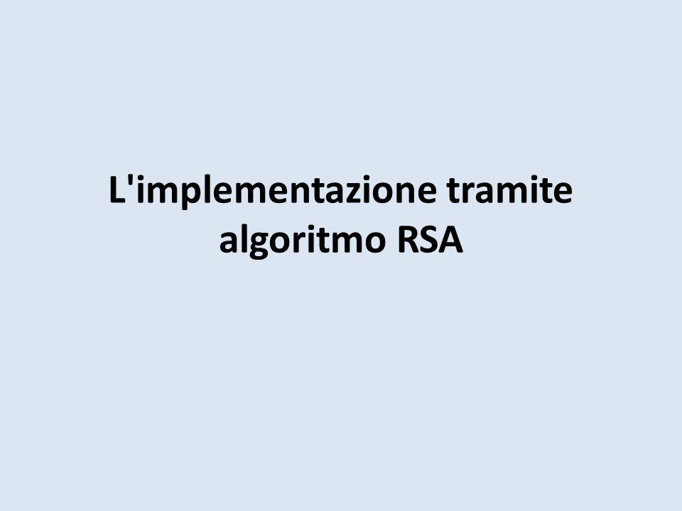 L'implementazione tramite algoritmo RSA