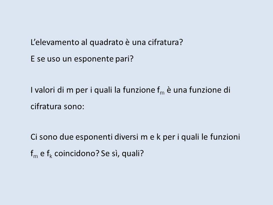 Lelevamento al quadrato è una cifratura? E se uso un esponente pari? I valori di m per i quali la funzione f m è una funzione di cifratura sono: Ci so