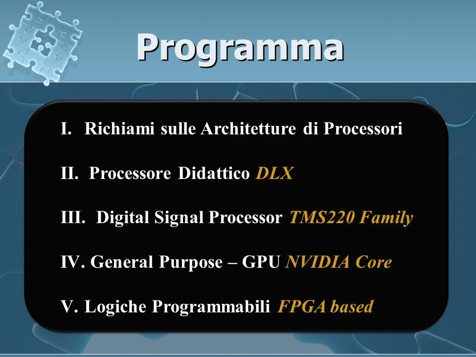 Programma I.Richiami sulle Architetture di Processori II.
