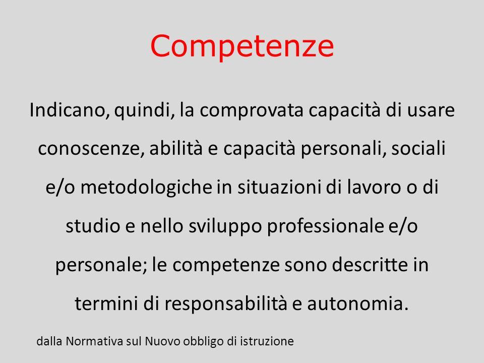 Competenze Indicano, quindi, la comprovata capacità di usare conoscenze, abilità e capacità personali, sociali e/o metodologiche in situazioni di lavo
