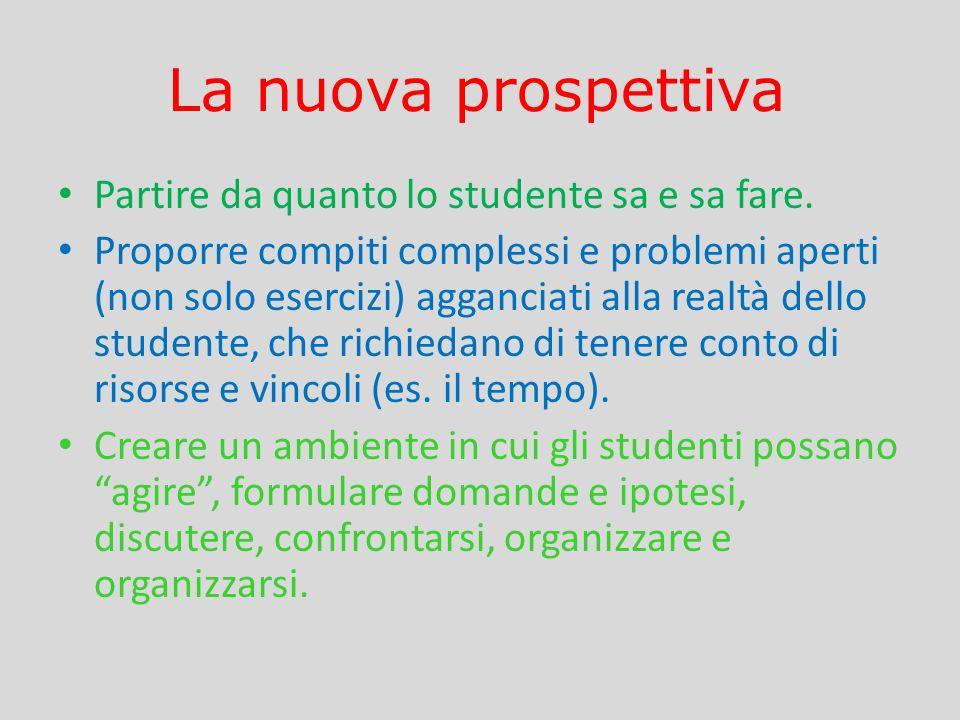 La nuova prospettiva Partire da quanto lo studente sa e sa fare. Proporre compiti complessi e problemi aperti (non solo esercizi) agganciati alla real