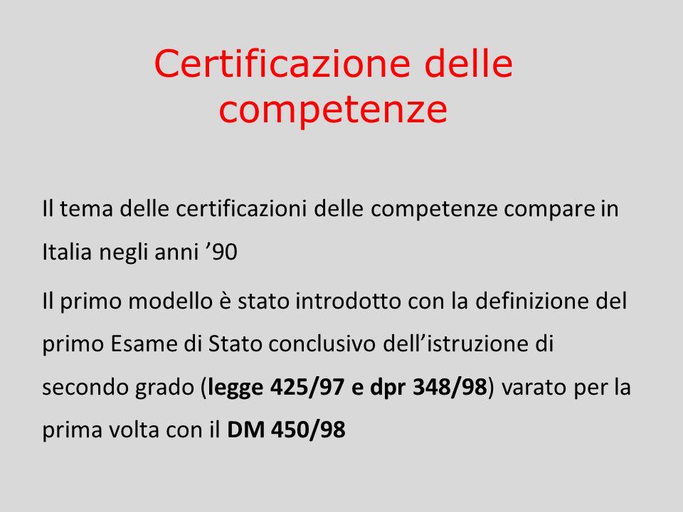 Il tema delle certificazioni delle competenze compare in Italia negli anni 90 Il primo modello è stato introdotto con la definizione del primo Esame d