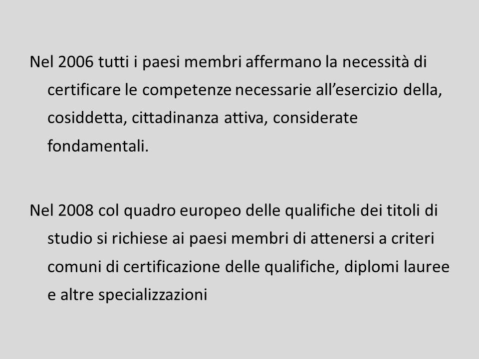 Nel 2006 tutti i paesi membri affermano la necessità di certificare le competenze necessarie allesercizio della, cosiddetta, cittadinanza attiva, cons