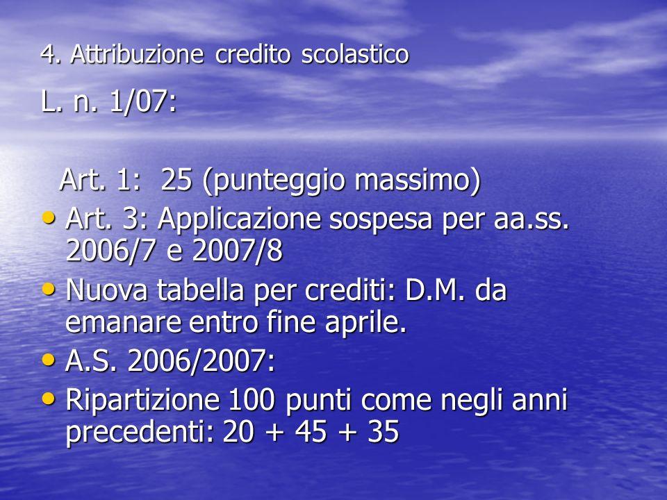 4. Attribuzione credito scolastico L. n. 1/07: Art. 1: 25 (punteggio massimo) Art. 1: 25 (punteggio massimo) Art. 3: Applicazione sospesa per aa.ss. 2