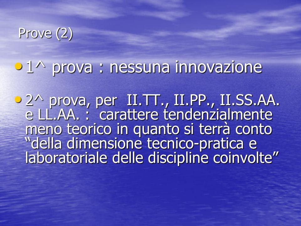 Prove (2) 1^ prova : nessuna innovazione 1^ prova : nessuna innovazione 2^ prova, per II.TT., II.PP., II.SS.AA. e LL.AA. : carattere tendenzialmente m