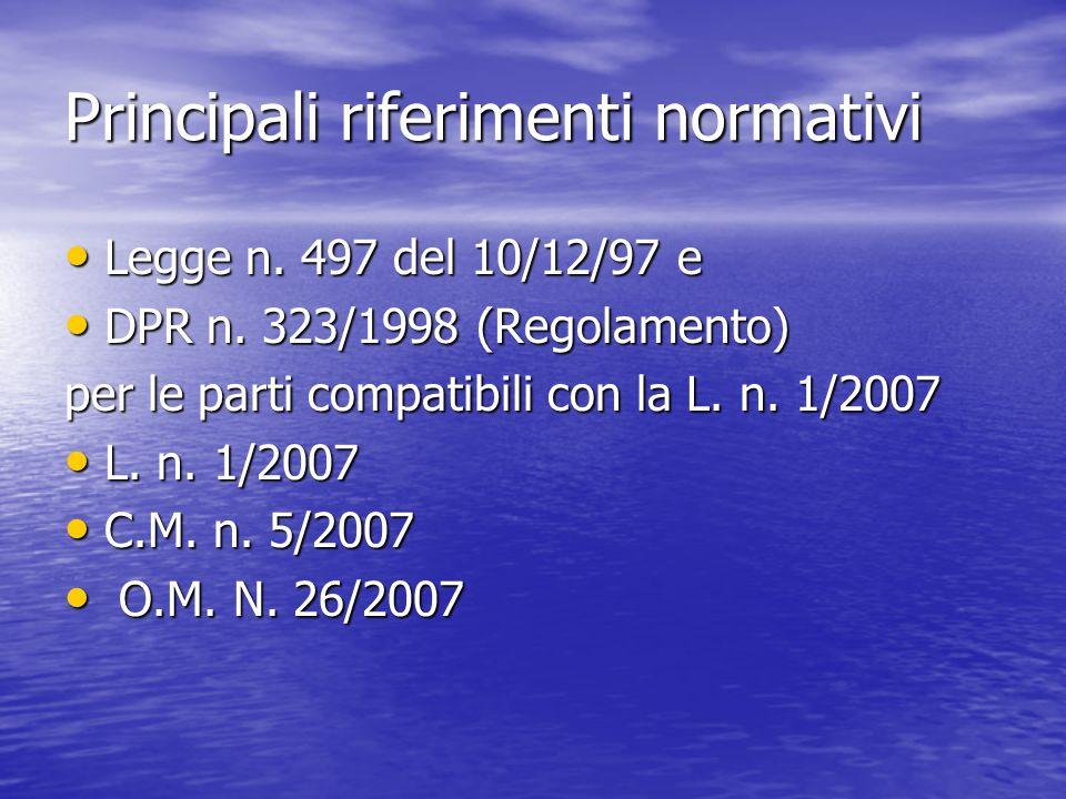 Principali riferimenti normativi Legge n. 497 del 10/12/97 e Legge n. 497 del 10/12/97 e DPR n. 323/1998 (Regolamento) DPR n. 323/1998 (Regolamento) p