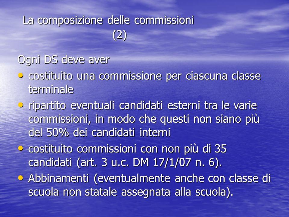 La composizione delle commissioni (2) La composizione delle commissioni (2) Ogni DS deve aver costituito una commissione per ciascuna classe terminale