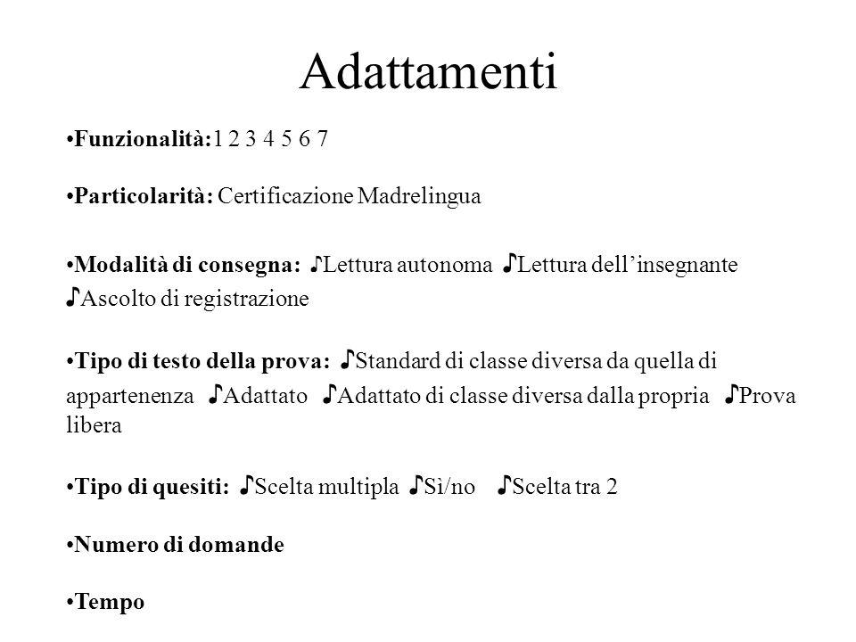 Adattamenti Funzionalità:1 2 3 4 5 6 7 Particolarità: Certificazione Madrelingua Modalità di consegna: Lettura autonoma Lettura dellinsegnante Ascolto